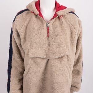 Bershka Zara Faux Shearling Hoodie Jacket Pullover